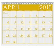 2018 Kalender: Maand van April With Easter Stock Fotografie