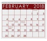 2018 Kalender: Maand van Februari met de Dag van Valentine ` s Royalty-vrije Stock Afbeeldingen