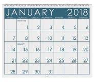 2018 Kalender: Maand van Januari met Nieuwjaar` s Dag Royalty-vrije Stock Afbeelding
