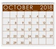 2018 Kalender: Maand van Oktober met Halloween Stock Foto