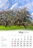 Kalender 2014. Mai. Lizenzfreies Stockbild
