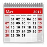 Kalender - Mai 2017 Lizenzfreies Stockfoto