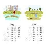 Kalender 2018 Maj Juni vektor illustrationer