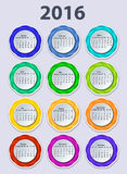 Kalender mall för 2016 år vektordesign Arkivfoto