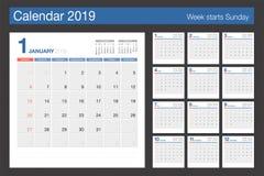 kalender 2019 Mall för modern design för skrivbordkalender Veckastarter vektor illustrationer