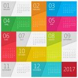 Kalender 2017 Mall för vektordesignbrevpapper vektor illustrationer