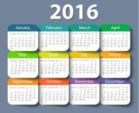 Kalender mall för 2016 år vektordesign Royaltyfri Fotografi