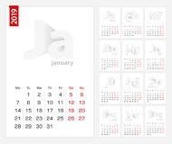 Kalender2019 mall, minimalist kalenderuppsättning för 2019 år på grå bakgrund royaltyfri illustrationer