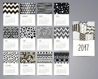 Kalender 2017 Mallar med hand drog modeller stock illustrationer
