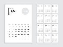 Kalender 2018 malplaatje vector illustratie