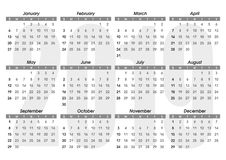 Kalender 2019 malplaatje stock illustratie