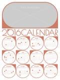 Kalender 2016 malplaatje Royalty-vrije Stock Afbeeldingen