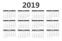 Kalender 2019 malplaatje Het begin van de week op Zondag Eenvoudige Stijl royalty-vrije illustratie