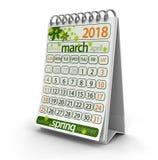 Kalender - mars 2018 vektor illustrationer