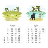 Kalender2018 mars April stock illustrationer