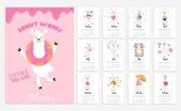 kalender 2020 med alpaca Gullig kalender med lamateckenet ocks? vektor f?r coreldrawillustration stock illustrationer