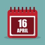 Kalender med 16 april i en plan design också vektor för coreldrawillustration Arkivfoto
