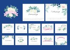 Kalender 2018 med blommadesignbeståndsdelen Royaltyfria Bilder