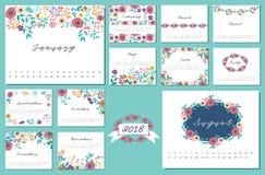 Kalender 2018 med blommadesignbeståndsdelen Royaltyfria Foton