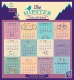 Kalender med cyklar för det 2015 året Arkivbilder