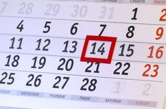 Kalender med datumet av 14 Februari Arkivbild