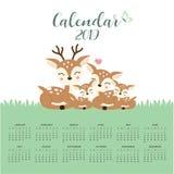 Kalender 2019 med den gulliga hjortfamiljen stock illustrationer