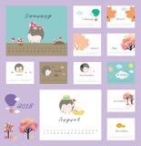 kalender 2018 med den gulliga igelkotten Fotografering för Bildbyråer