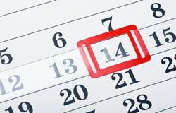 Kalender med den röda fläcken på 14 Februari Arkivfoto