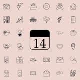 kalender med den 14th datumsymbolen Detaljerad uppsättning av valentinsymboler Högvärdigt kvalitets- tecken för grafisk design En Royaltyfri Foto
