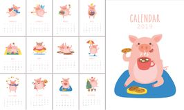 Kalender 2019 med det gulliga svinet i olika lägen Symbol av året i den kinesiska 2019en vektor illustrationer