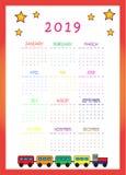 Kalender 2019 med drevet och stjärnor för ungar arkivbilder
