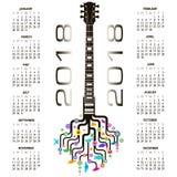 Kalender 2018 med en nyckfull gitarr Fotografering för Bildbyråer