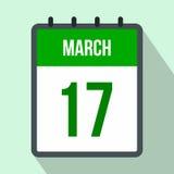 Kalender med för dagdatum för St Patricks symbolen för lägenhet Royaltyfria Bilder