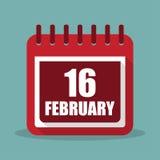 Kalender med 16 februari i en plan design också vektor för coreldrawillustration Royaltyfri Fotografi
