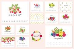kalender 2018 med gullig frukt Royaltyfri Fotografi