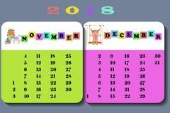 Kalender 2018 med gulliga barn Vektor Illustrationer