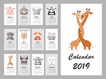 Kalender 2019 med gulliga djur också vektor för coreldrawillustration royaltyfri illustrationer