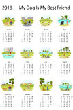 Kalender 2018 med hunden vektor illustrationer