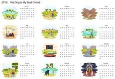 Kalender 2018 med hunden royaltyfri illustrationer