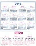 kalender 2019 med Januari Fabruary och mars av 2020 royaltyfri illustrationer