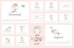 Kalender 2018 med katten och yogastolpen Arkivfoton
