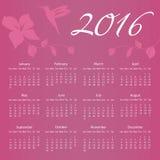 Kalender 2016 med kolibrin och blomman med Royaltyfri Fotografi