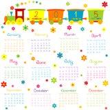 Kalender 2015 med leksakdrevet och blommor royaltyfri illustrationer