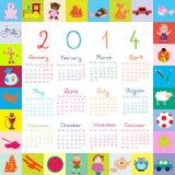 Kalender 2014 med leksaker för ungar stock illustrationer