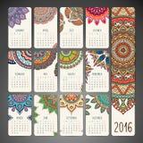 Kalender med mandalas royaltyfri illustrationer