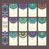 Kalender 2017 med mandalas Arkivfoton