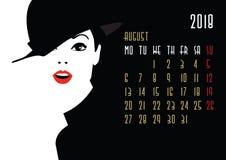 Kalender med modeflickan vektor illustrationer