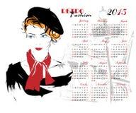 Kalender med modeflickan Royaltyfri Foto