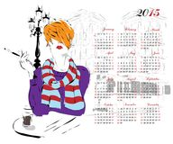 Kalender med modeflickan stock illustrationer