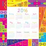 kalender 2016 med ramen för ungar royaltyfri illustrationer